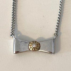 Henri Bendel Silver Bow Tie Necklace